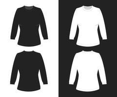 Mockup Plain Woman T-Shirt Sweater Set Black White vector