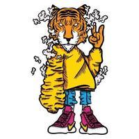 tiger cartoon vector illustration with street wear