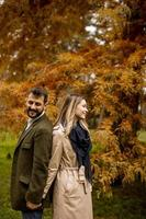 Young couple in the autumn park photo
