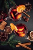 Traditional Christmas hot mulled wine. photo