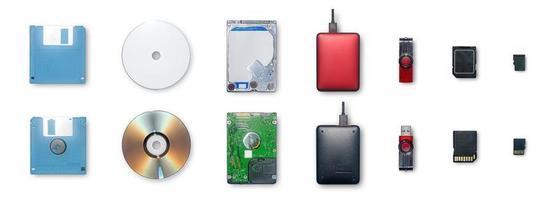 los dispositivos utilizan para almacenar información y transferir o respaldar datos. foto