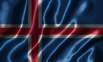 Wallpaper by Iceland flag and waving flag by fabric. photo