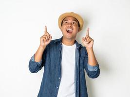 Happy man on white background photo