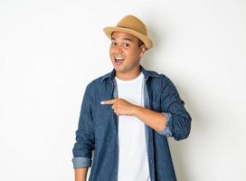 Excited man on white background photo