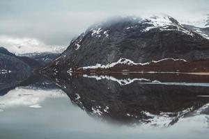 Landscape of mountains and lake enjoying landscape photo