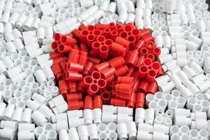 Colorful plastic bricks that form the flag of Japan photo