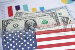Stethoscope on US dollar money. Financial account business data. photo