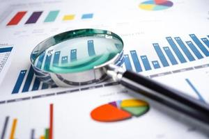 Magnifying glass on charts graphs spreadsheet paper. photo