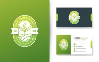 nature badge logo design and business card vector