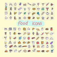 colorful food icon set in sticker style hand drawn isolated vector