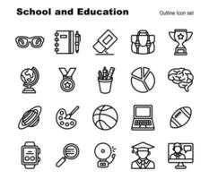 simple Set of 20 School and Education element vector outline icons