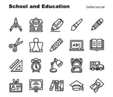 20 School and Education element outline icon for education vector