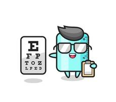 Illustration of ruler mascot as an ophthalmologist vector
