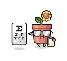 Illustration of sunflower pot mascot as an ophthalmologist vector