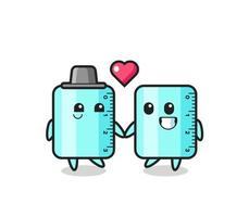 ruler cartoon character couple with fall in love gesture vector