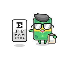 Illustration of money mascot as an ophthalmologist vector