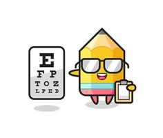 Illustration of pencil mascot as an ophthalmologist vector
