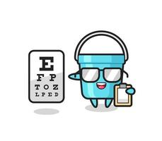 Illustration of plastic bucket mascot as an ophthalmologist vector