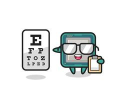 Illustration of processor mascot as an ophthalmologist vector