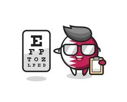 Illustration of qatar flag badge mascot as an ophthalmologist vector