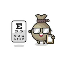 Illustration of money sack mascot as an ophthalmologist vector