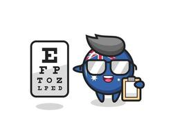Illustration of australia flag badge mascot as an ophthalmologist vector