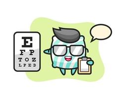 Illustration of pillow mascot as an ophthalmologist vector