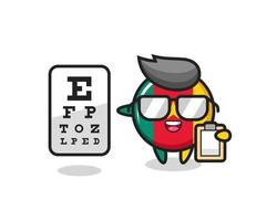 Illustration of cameroon flag badge mascot as an ophthalmologist vector