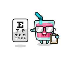 Illustration of strawberry juice mascot as an ophthalmologist vector