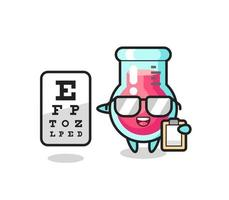Illustration of laboratory beaker mascot as an ophthalmologist vector