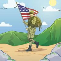 US Army Holds American Flag on Veterans Day vector