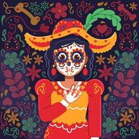 Mexican Lady with Dia De Muertos Make Up vector