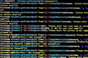 Screen of source code and abstract technology background photo