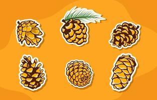 Autumn Pinecone Icon Collection vector