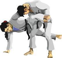 técnica de judo kani basami vector