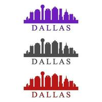 Dallas skyline illustrated on white background vector
