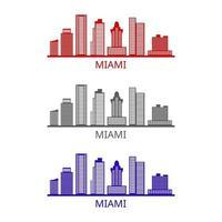 Miami skyline illustrated on white background vector