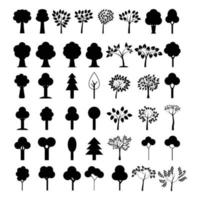 Set of tree illustrated on white background vector