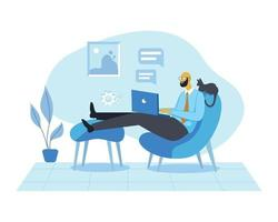 Working from home illustration concept vector