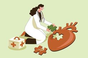 Heart doctor illustration concept vector