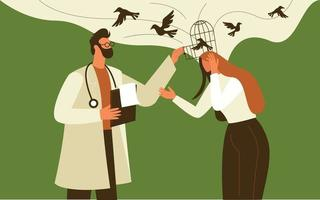 Doctor giving mental support to patient illustration concept vector