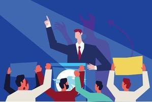 Leader giving speech illustration concept vector