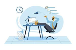 Relaxing in office illustration concept vector