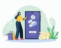 Online shopping illustration concept vector