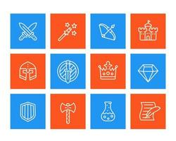 Game icons set, swords, magic wand, bow, fortress, helmet, shield vector