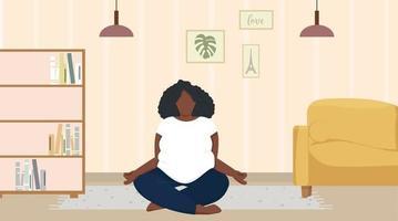 African woman meditating in lotus pose.Black woman yoga at home vector