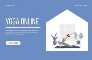 Young woman practicing yoga at home online. Vector illustration