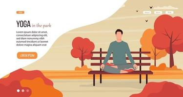 Man practicing yoga at the park vector
