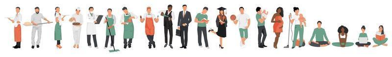 A collection of people of various professions in professional uniform vector