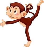 Monkey doing yoga cartoon character vector